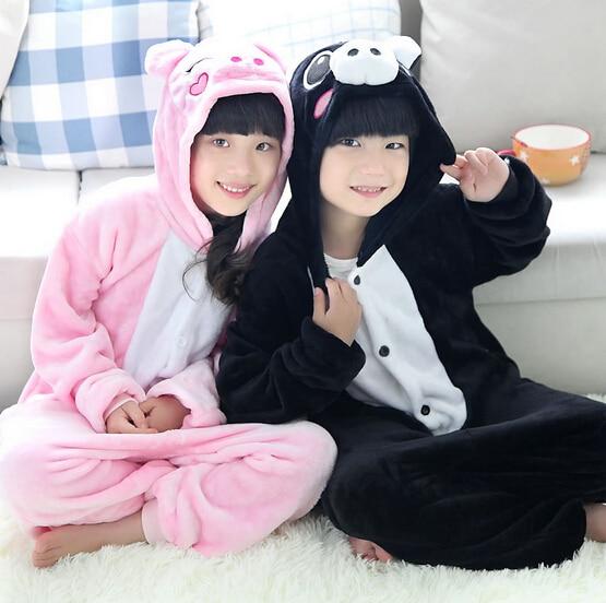High Quality Wholesale Black Pink Pig Flannel Hoodie Pajamas Costume Cosplay Animal Onesies Sleepwear For Boys Girls Kids