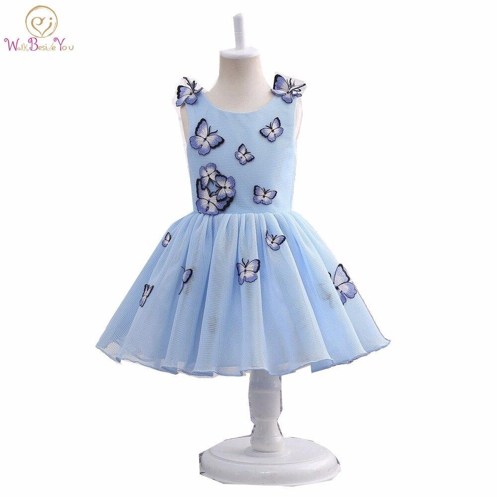 を実画像 2019 ベビードレス子供のためのブルー蝶フラワーガールのドレス聖体ドレスページェントドレスグリッツ  グループ上の ウェディング & イベント からの フラワーガールのドレス の中 1
