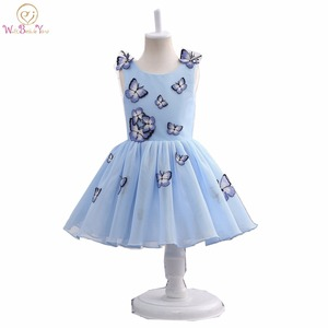 Real Image 2020 Baby Gowns for Kids Blue Butterfly Flower Girl Dress Communion Dresses Pageant Dresses for Girls Glitz(China)