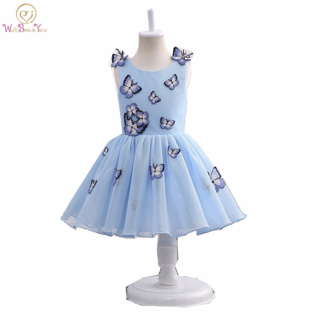 Real Image 2017 Evening Gowns for Kids Blue Butterfly   Flower     Girl     Dress   Communion   Dresses   Pageant   Dresses   for   Girls   Glitz