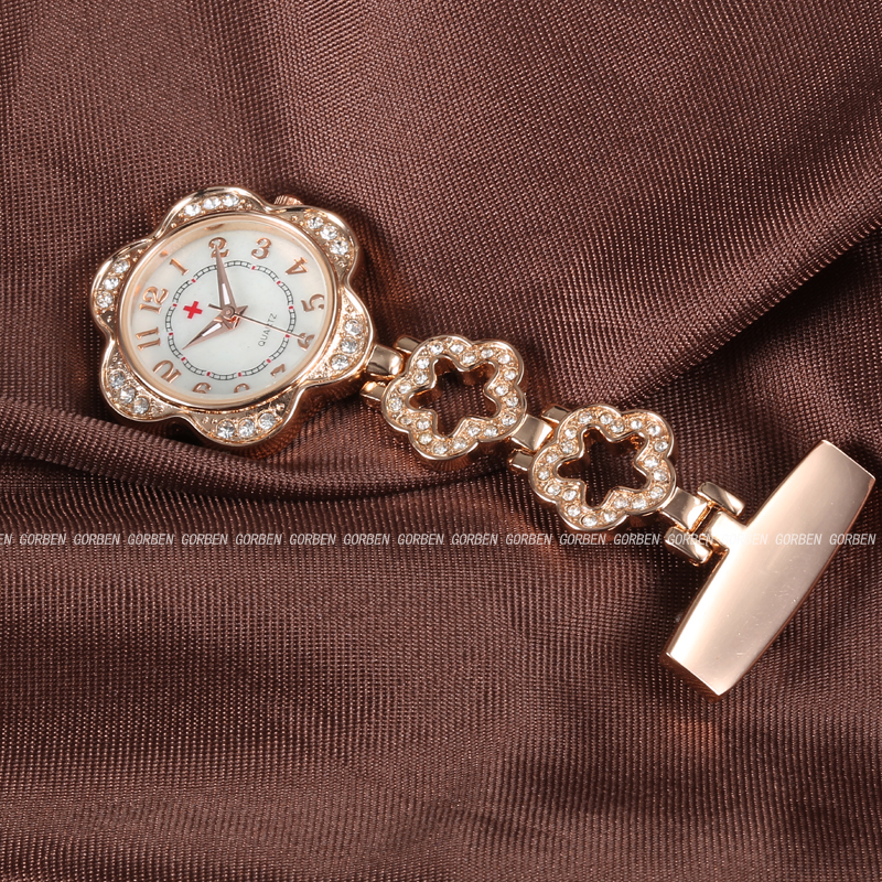 Luxury Crystal Petal Nurse Doctor Brooch Fob Pendant Quartz Watch Stainless Steel Hanging Pocket Watches Womens Dresses Gift