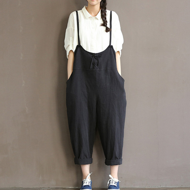 Women Wide Leg Pants Femme Mori Girl Preppy Style  Loose Waist Spaghetti Strap Pockets Jumpsuits Cotton Linen Cross Trousers