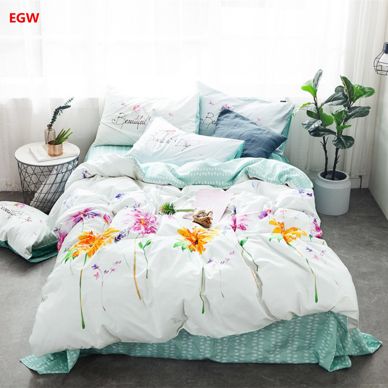 Summer white bedding set 100%cotton AB duvet cover fresh flower leaf bed sheet linen bedcloth Nordic style queen king bedding