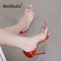 Fashion women's shoes thin heel pumps Leather pointed toed rivets lady sexy Red wedding party shoes stilettos high heeled shoes