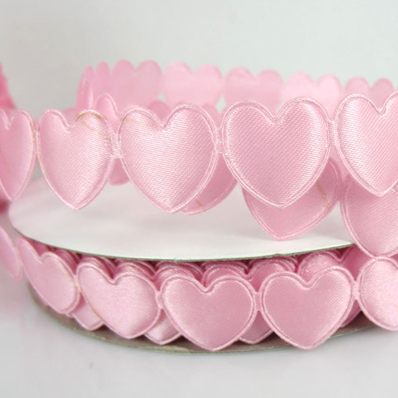 1Roll 20Yards Pink Connect Padded Felt Heart Applique/Craft Wedding Decorations 16mmx16mm