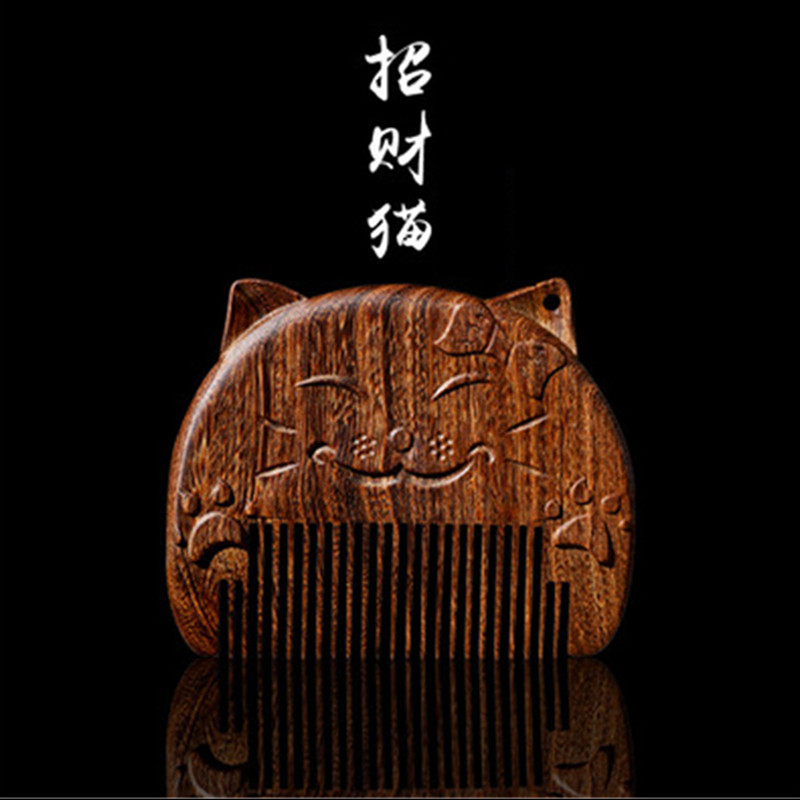 Professional Health Care Comb Anti-static Massage Natural Sandalwood Comb Handmade Wood Cat Hair Brush Wedding/Birthday Gift professional health care comb anti static massage black sandalwood comb handmade beauty lotus seed hair brush