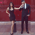 Black Mini spaghetti cocktail Dresses Tight Sexy Homecoming dresses simple cheap Important Party gowns African dresses   Z960