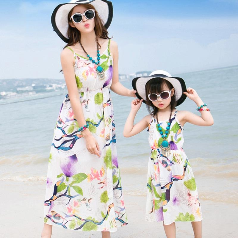 Free Shipping Mother daughter dresses flower summer kids Girls Dress Family Matching Outfits women girl holiday long vest dress