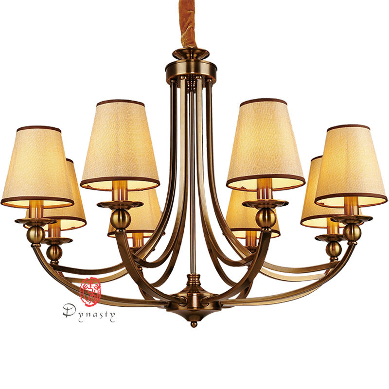 Art Decoration Style Antique Vintage Brass Copper Chandelier AC110/220V Decoration Foyer Hotel Lobby Project Free Ship Dynasty d1000mm h650mm 10 heads brass pendant lamp antique brass chandelier vintage copper glass ac 100