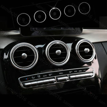 5pcs Silver Diamond Style Air Vent Inner Trim Cover For Benz GLC Class X205 16+