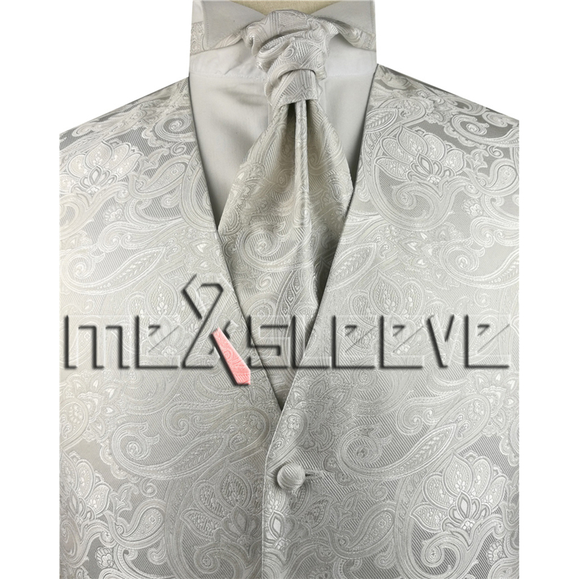 Бесплатная доставка Лидер продаж! мужские цвета слоновой кости жилет (жилет + ascot галстук + платок + запонки)