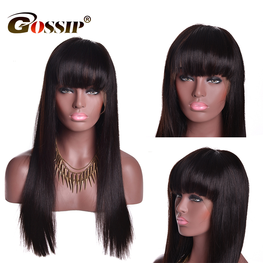 Straight Remy Human Hair Wigs With Bangs Brazilian Lace Front Wig With Bangs Gossip 13x4 Wig
