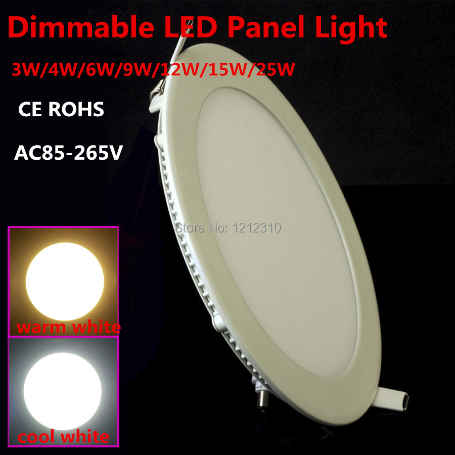 10st / lot Dimmable Ultra-tunn 3W / 4W / 6W / 9W / 12W / 15W / 25W LED-tak Inbyggnadsljus Downlight / Slim Round / Square Panel Light