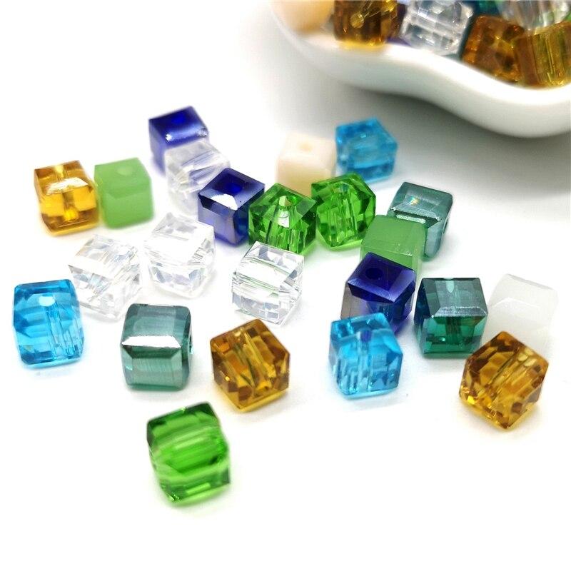 Мм 6 мм кристалл стеклянные бусины аксессуары для изготовления ювелирных изделий, квадратной формы кристалл кубик стеклянные бусины, 20 шт./лот