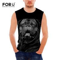 FORUDESIGNS Funny 3D Pug Dog Pattern Tank Tops For Men Casual Teenager Boys Black Sleeveless T