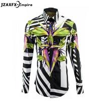 New Arrival Men Europe Bird Of Paradise Pattern Shirt Long Sleeve Male Fashion Dress Shirt Brand