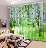 New Custom 3D Beautiful Green Forest 3d Custom Curtains Top Classic 3D European Style