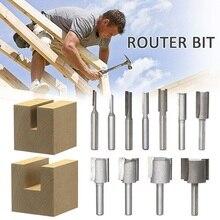 """1 stücke 1/4 """"Schaft 2 Flöte Gerade Bit Holzbearbeitung Werkzeuge Router Bit Hartmetall Einzigen & Doppel Rand Cutter 11 größen"""