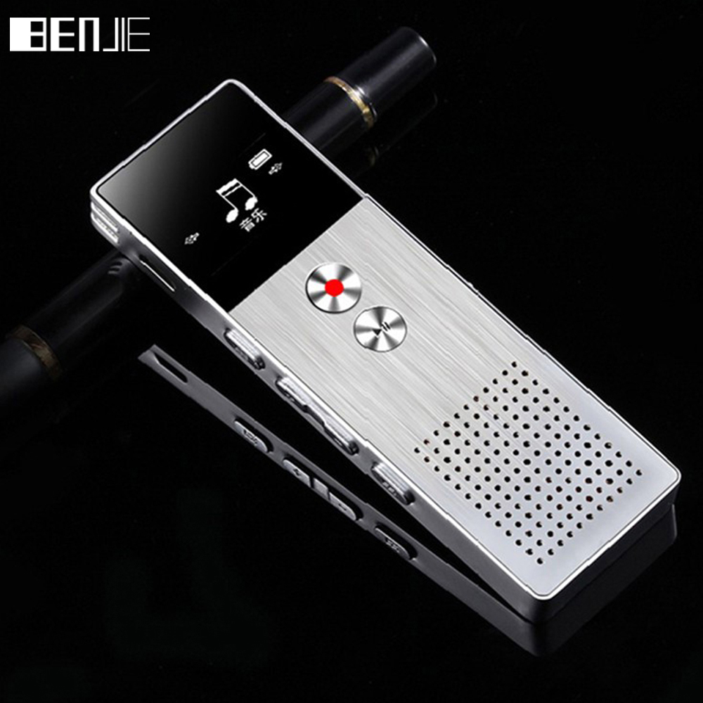 BENJIE 8GB Mini Flash Digital Voice Recorder Dictafon MP3 Player muzical Gravador de voz Suport TF Card Built-in Difuzor