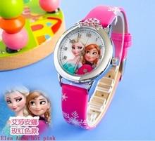 2018 Presale New Cartoon Children Watch Princess Elsa Anna Watches Fashion Girl Kids Student Cute Leather quartz Wrist Watches