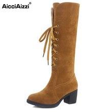 Aicciaizzi 4 цвета Размеры 34–43 Для женщин сапоги до колен на высоком каблуке с перекрестными ремешками с Теплые зимние сапоги на меху Для женщин Зимние боты Дамская обувь