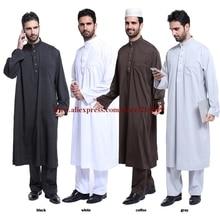 مجموعة واحدة الإسلامية الرجال رداء رمادي ، الأبيض ، الأسود ، القهوة كم طويل القطن المخلوطة خيوط السعودية العربية طوق Jubba الثوب