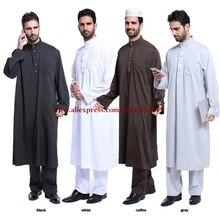 Bir set İslam erkekler bornoz gri, beyaz, siyah, kahve Uzun kollu pamuk Karışımlı Iplikler suudi arap yaka Jubba Thobe