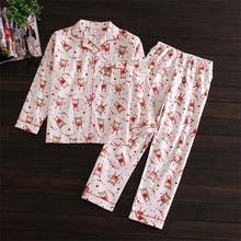 Long Sleeve Pajamas For Women 100% Cotton Cardigan Velvet Cloth Pyjamas Women's Sleep Lounge Pajama Set