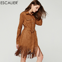 ESCALIER Autumn Dress Women Solid Color Tassel Hollow Vintage Dresses Long Fashion Suede Casual Maxi Straigh