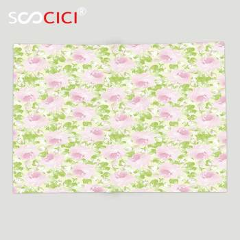 Custom Soft Fleece Throw Blanket Shabby Chic Decor Classical Spring Yard Florescence Pastel Flourish Pattern Light Pink Light