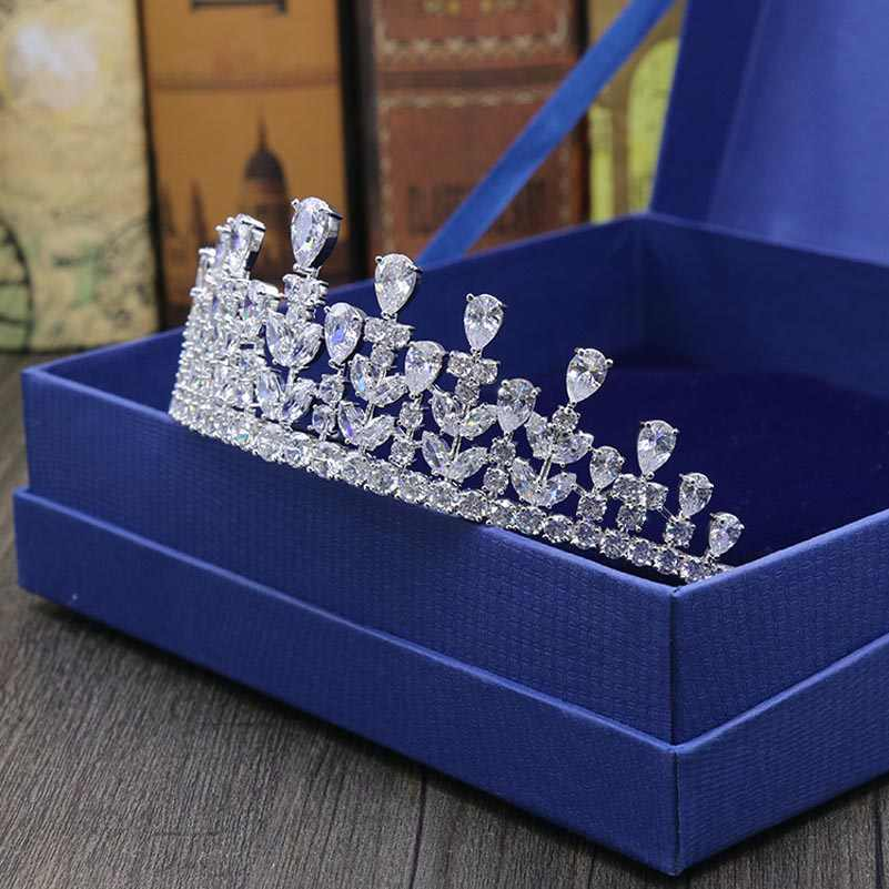 赤木ブランド高品質結婚式のティアラ花嫁のための贅沢立方ジルコンゴールドカラーの王冠ヘアアクセサリー tocado ノビア
