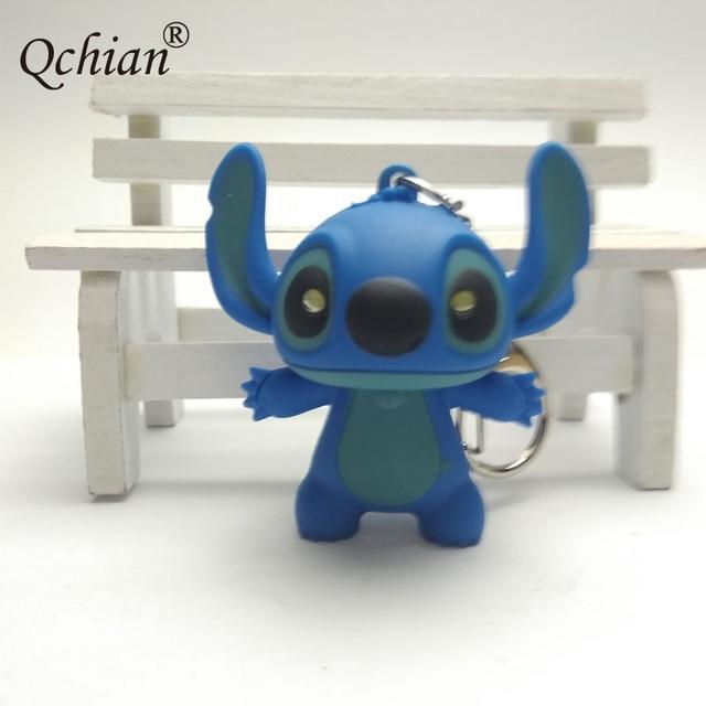 Popular Movie Lilo & Stitch Cartoon Animal Modeling Kkeychain LED Glowing Sound Plastic Car Backpack Pendant