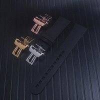 블랙 실리콘 고무 시계 밴드 다이빙 스포츠 방수 적합 blancpain fifty fatoms 고무 스트랩 밴드 23mm x 20mm 새로운