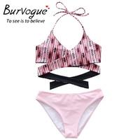 Burvogue Sexy Bikini Set Women Summer New Monokini Swimwear V Neck Bathing Suits Halter Hollow Push