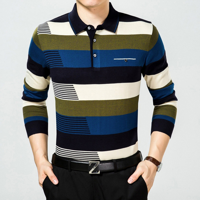 Mid-aged Fashion Wool blends knitted Polo shirt long sleeve colorful Striped Camisa Polo High quality slim fit casual polo homme