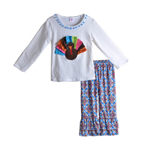 CONICE NINI Boutique Remake Baby Girls Thanksgiving Outfits Turkey White Top Print Pants Clothing Kids Autumn Set T014