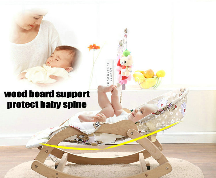 Beech Wood Baby Rocking Chair with Rotating Toy Rack, Foldable 5 Grade Adjust Baby Cradle, Portable Rocking Chair