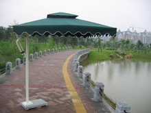 Top side guard booth umbrella sidearm outdoor umbrellas resort