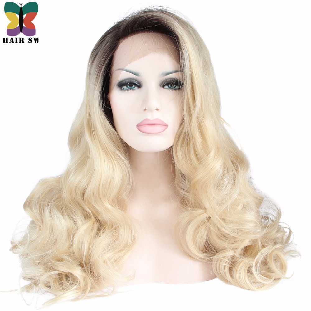 HAIR SW Long Wavy Lace Front Synthetic Wig Ombre Blonde Dark Roots With big swap bangs Glueless Half Hand Tied For White Women