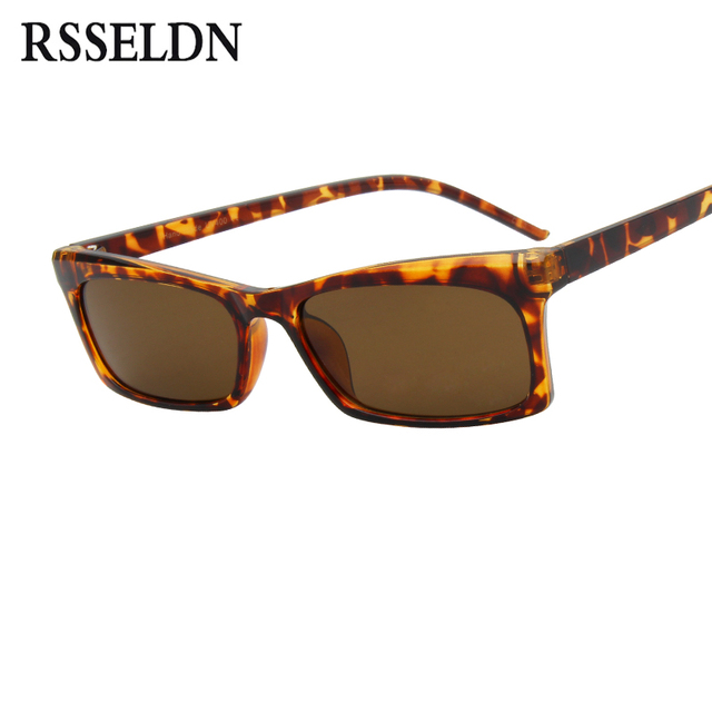 15ac4922d17fb RSSELDN Retângulo Pequeno Quadro Óculos De Sol Das Mulheres Designer de  Marca de Moda Quadrado Preto