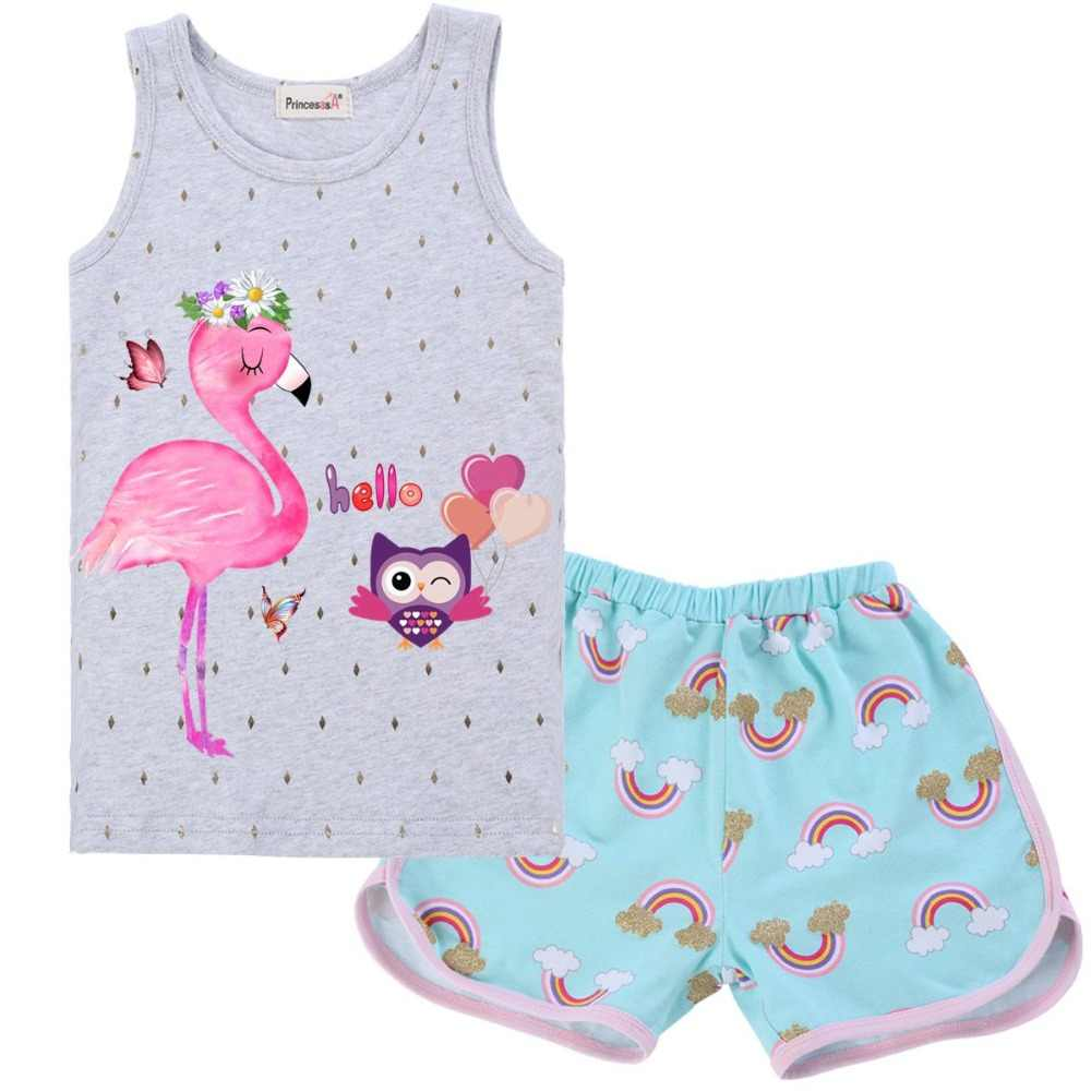 Baby Girls Clothes Flamingo 2019 Summer Children Clothes Shirt Shorts 2PCS Set Girls Clothing Sets Kids Suit Toddler Boy Clothes