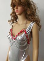 Nowe Mody Skóra Styl WRB993 Kobiet Bondage Uprząż Plaża Biustonosz Chain Collar Choker Srebrne Łańcuszki Naszyjnik Biżuteria Akcesoria