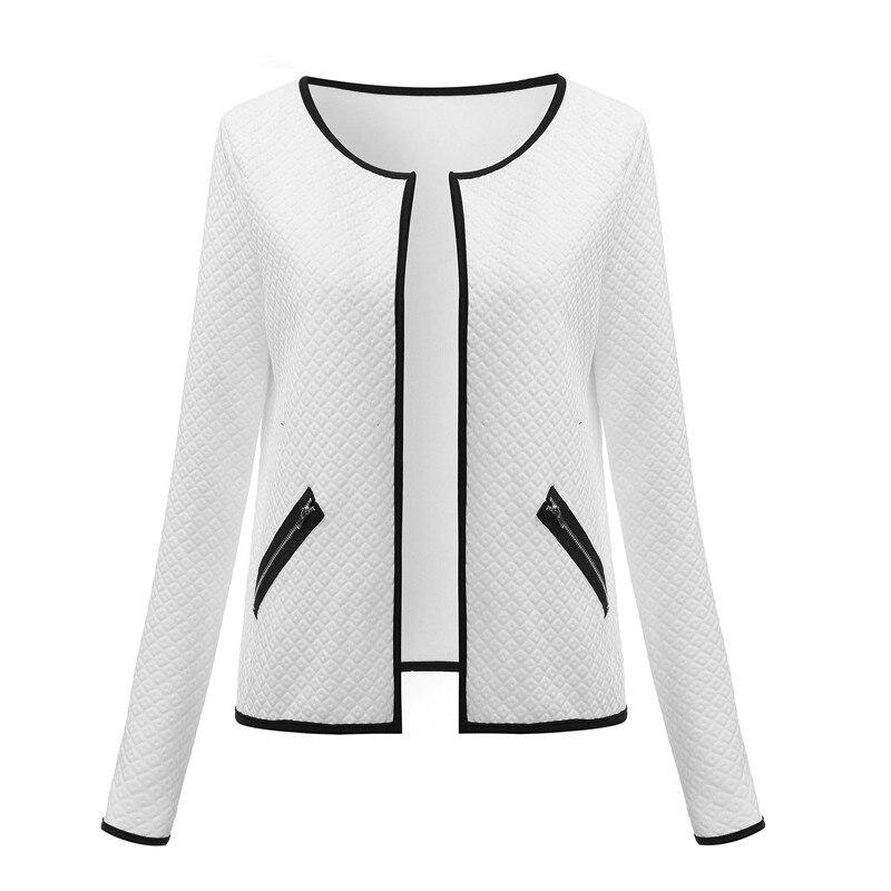 Plus Rozmiar Wiosna Jesień Kratę Kobiet Cienkie Płaszcze Krótkie Kurtki Schudnięcia Blazers Garnitur Cardigans 2017 Kobiet Znosić Czarny Biały 9
