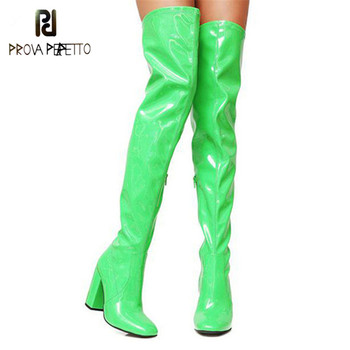 Prova Perfetto Sexy Bright Patent Leather Boots Party Shoes Woman Over The Knee Boots Girls Fancy Dress High-Heel Women Boots
