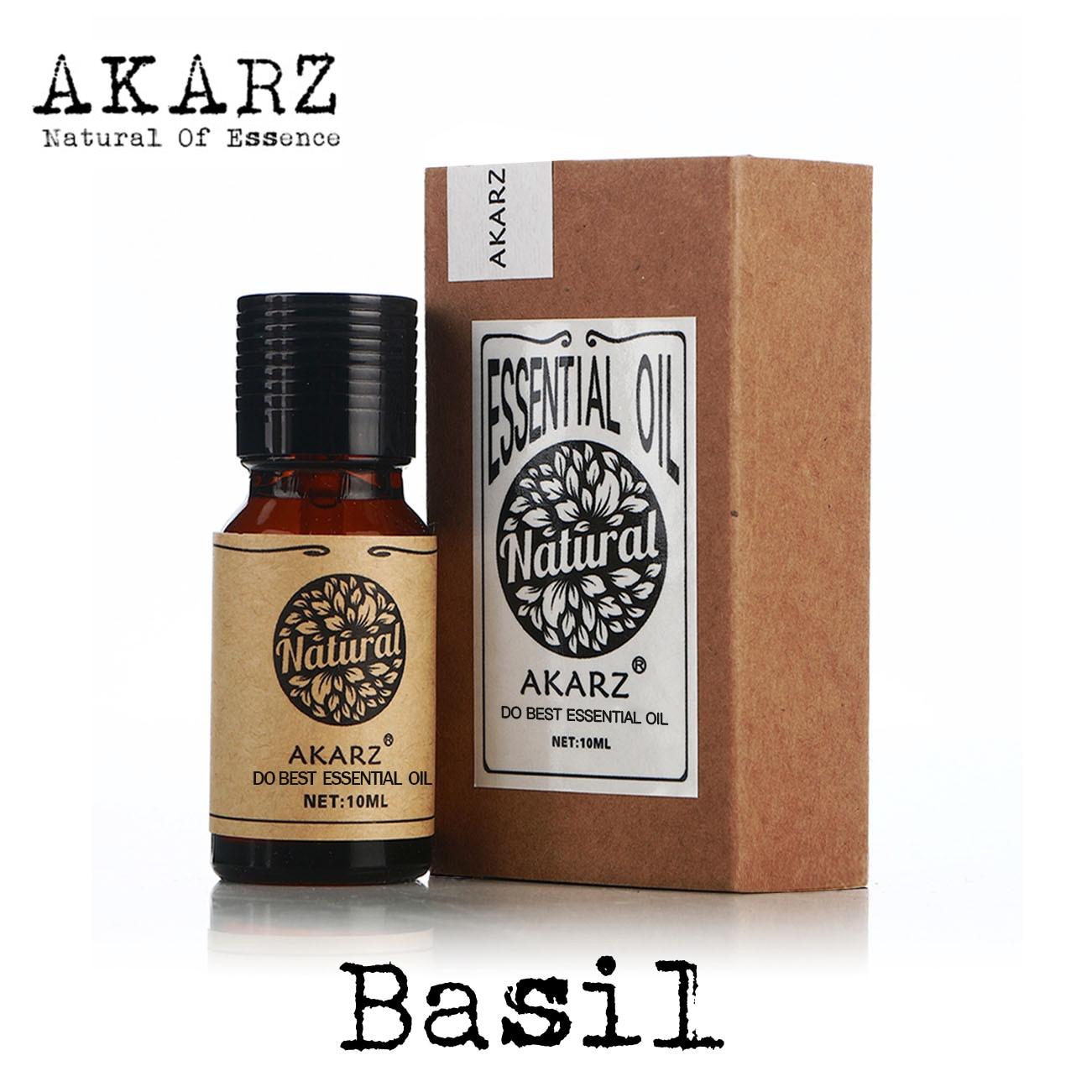 AKARZ Famous brand natural aromatherapy basil oil Improve spirit Stabilization effect Firming Oil balance basil essential oil basil