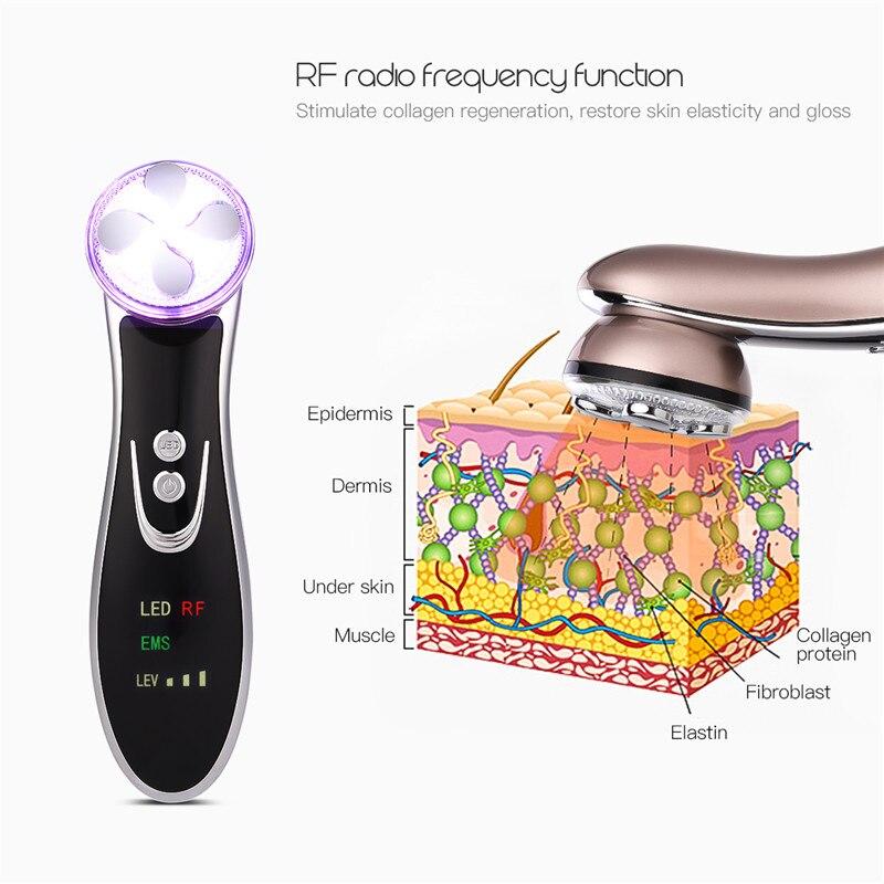 LED Photon RF EMS Skin Rejuvenation Facial Massager Face Lifting Tightening Anti Aging Wrinkle Blackhead Removal