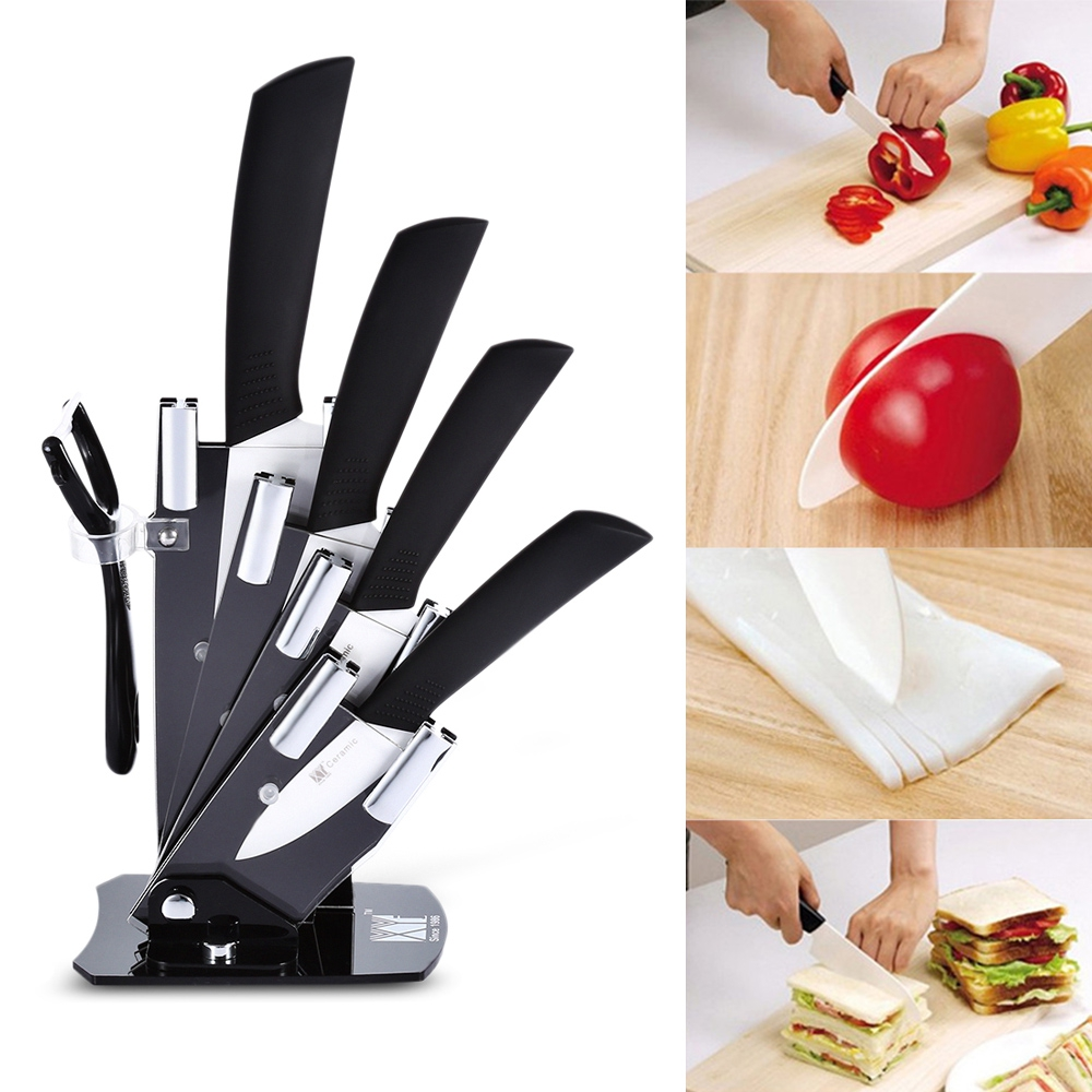6 In 1 Sharp Kitchen Ceramic Knives Kit Peeler Holder Antibiotic Antioxidant Ceramic Health Care Nutrition Maintain Paring Knife