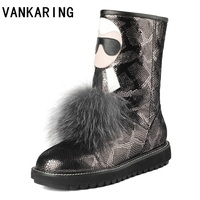 VANKARING fashion high quality printed snake leather ankle boots woman shoes platform shoes woman winter warm snow casual boots