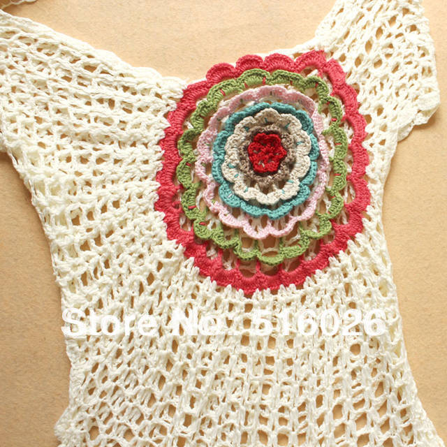 Crochet Batwing Top Free Pattern : Ivory Crochet Lace Blouse Summer Floral Beach Cover Up ...