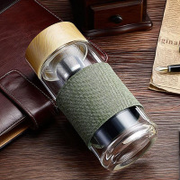 400ML Glass Water Bottle With Tea Infuser Strainer Heat Resistant Travel Car Office Drinking Bottles Teacups